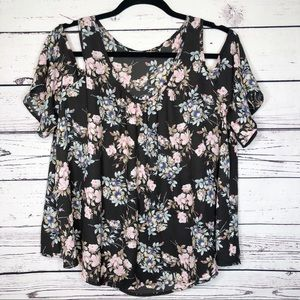 Lush floral cold shoulder ruffle top